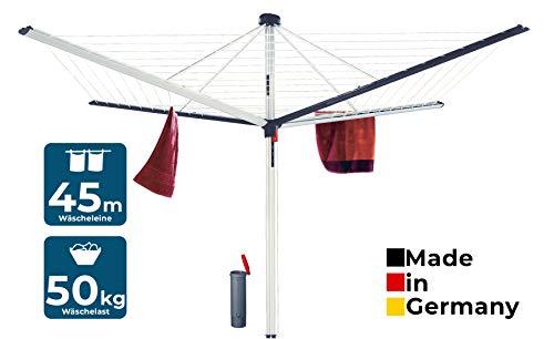 BLOME Wäschespinne Superior DuoMatic 45 - Designer Wäscheständer für den Garten inkl. Bodenhülse,...