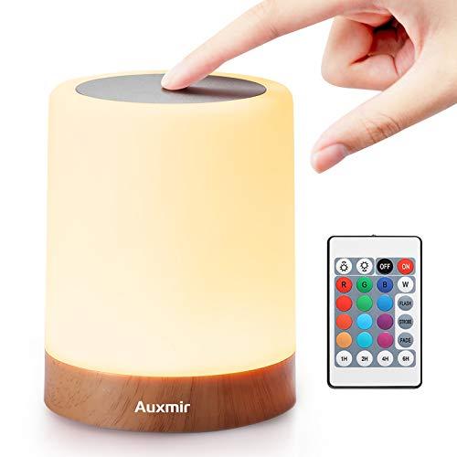Auxmir LED Nachttischlampe, Dimmbar Atmosphäre Tischlampe für 13 Farben Tragbare Nachtlicht mit...