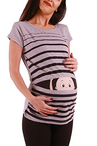Witzige süße Umstandsmode T-Shirt mit Motiv Schwangerschaft Geschenk - Kurzarm (XL, Grau)