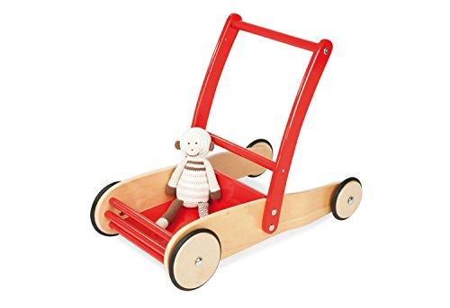Pinolino Lauflernwagen Uli, aus Holz, mit Bremssystem, Lauflernhilfe mit gummierten Holzrädern, für Kinder...