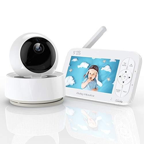 YUNDOO Babyphone mit Kamera, 5 Zoll Babyphone Baby Kamera 1280 x 720P IPS HD Display 300m Reichweite Infrarot...