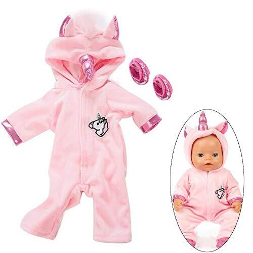 Ouinne Uinicorn Kleidung Outfits Puppenkleidung Kostüm Kleider für 17-18' Baby Puppen (Rosa)