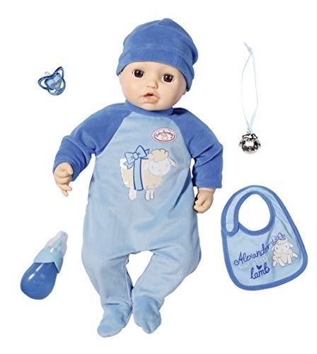 Zapf Creation 702482 Baby Annabell Puppe Alexander mit lebensechten Funktionen und Zubehör 43 cm, blau,...