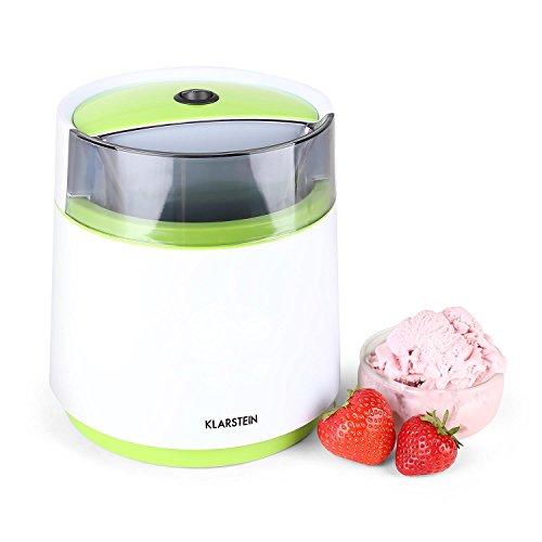 Klarstein Bacio Verde - Eismaschine, Speiseeismaschine, Eisbereiter, Frozen Yogurt, 7 Watt, 0,8 Liter...