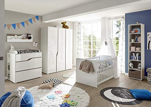 Babyzimmer Mara in Weiß und Eiche Trüffel 8 teiliges Megaset mit Schrank, Bett mit Lattenrost und...