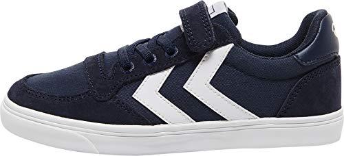 hummel Unisex Slimmer Stadil Low Jr Sneaker, Dress Blue, 36 EU