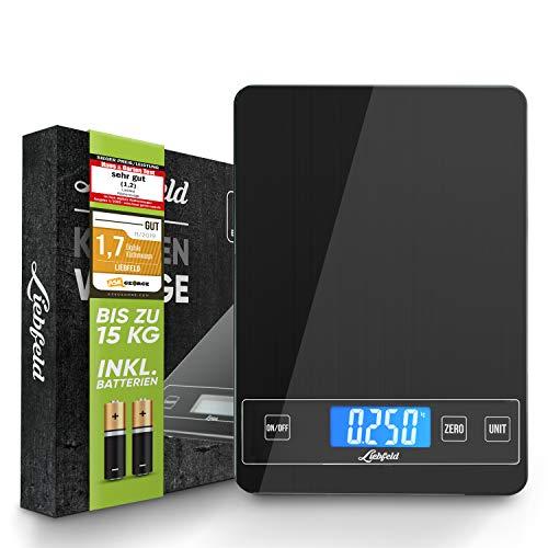 Liebfeld - Digitale Küchenwaage bis 15kg mit großer Glas Wiegefläche + 2 Batterien I Haushaltswaage...