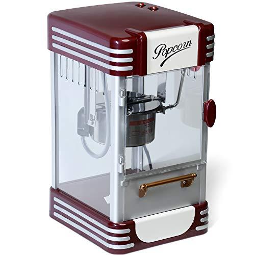 Jago® Popcornmaschine Retro - 60L/h, 200g/10min, Edelstahl Topf, für salziges Popcorn - 50er Jahre Look,...