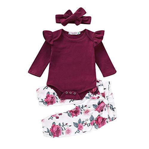 Geagodelia Babykleidung Set Baby Mädchen Langarm Body Strampler + Blumen Hose + Stirnband Neugeborene...