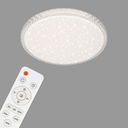 Briloner Leuchten-LED Deckenleuchte, Deckenlampe mit Sternendekor und transparenten Kristallen, dimmbar, inkl....