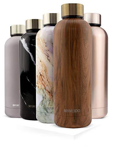 MAMEIDO Trinkflasche Edelstahl - Holz Messing - 750ml, 0,75l Thermosflasche - auslaufsicher, BPA frei -...