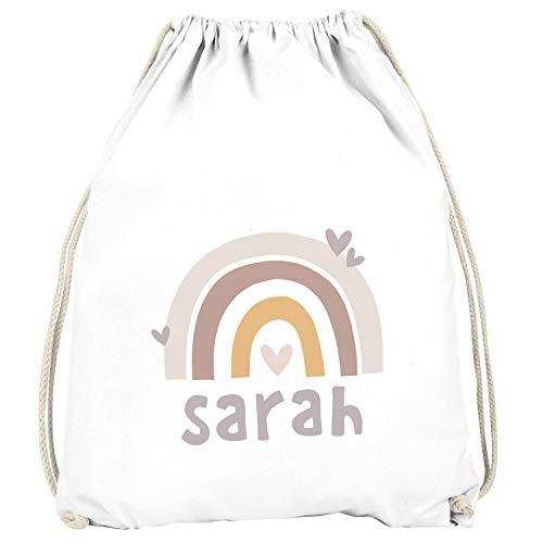 SpecialMe® Kinder Turnbeutel Regenbogen mit Namen Herzen Skandi Stil personalisierte Geschenke Mädchen...