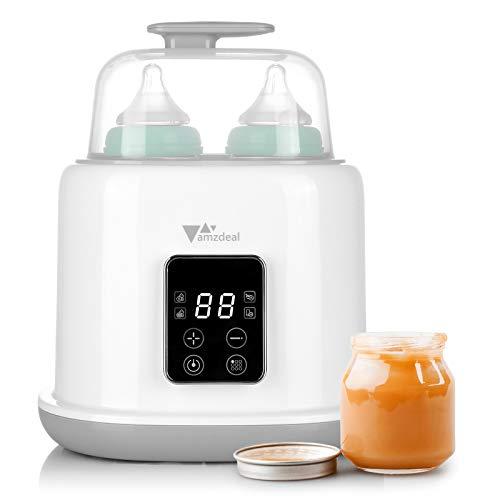 Amzdeal 6 in 1 Flaschenwärmer, Doppel Flaschen Dampfsterilisator, multifunktionaler Sterilisator für...