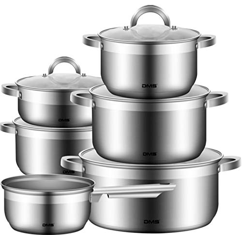 DMS 11-teiliges Topfset aus hochwertigem Edelstahl | Induktion | beschichtetes Kochset| Kochgeschirr |...