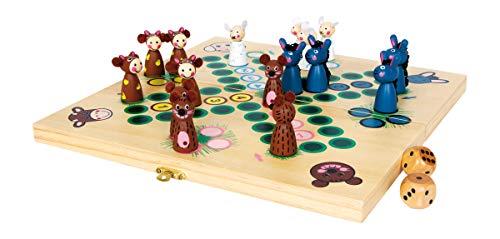 small foot 6257 Brettspiel 'Farmtiere' aus Holz, Gesellschaftsspiel Ludo mit Tieren als Spielfiguren, ab 3...