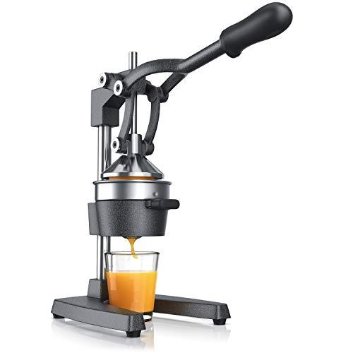 Saftpresse - Handentsafter Edelstahl - mechanischer Entsafter – Orangenpresse Zitruspresse manuell mit Hebel...