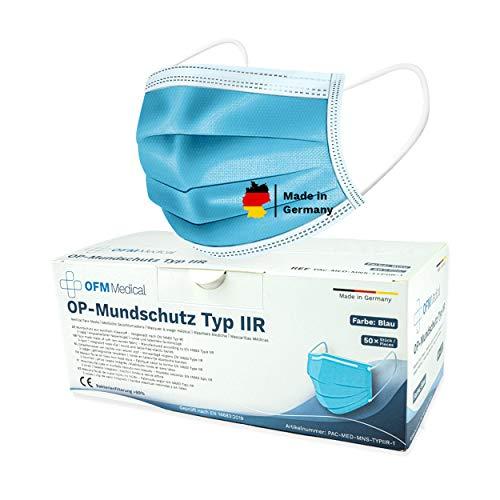 P.A.C. OFM Medical OP-Mundschutz Typ IIR 50 Stück,Medizinischer Mundschutz Maske, CE Zertifiziert, Atemschutz...