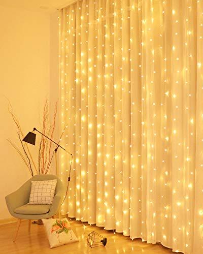 LED Lichtervorhang, 3 * 3M 300er Lichterketten Vorhang USB Fenster Lichterkette Wand mit Fernbedienung&Timer 8...