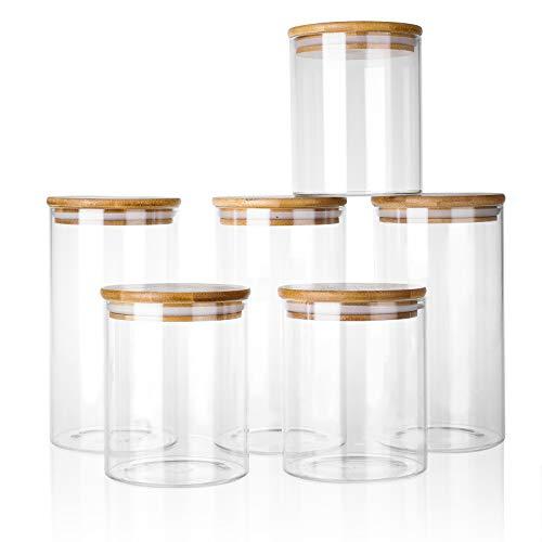 Vorratsdosen 6er Set Vorratsgläser 6L mit Deckel aus Bambus - in 2 Größen : 800ml 1200ml - Küche luftdicht...