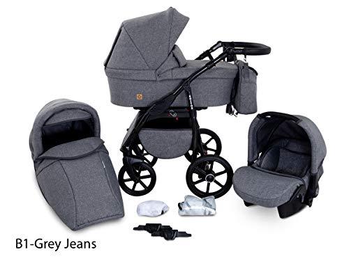 Boston 3 in 1 Kombi Kinderwagen Liegewanne Buggy Autositz Carlo (B1-Grey jeans)
