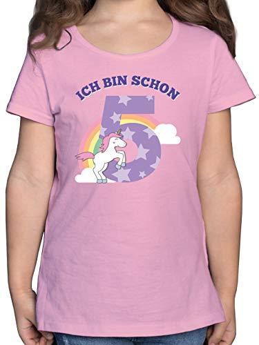 Shirtracer Geburtstag Kind - Ich Bin Schon 5 Einhorn -F131K - Mädchen Kinder T-Shirt , 01 Rosa , 116