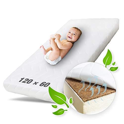 Ehrenkind® Babymatratze Kokos | Babymatratze 60x120cm | Matratze 120x60 mit hochwertigem Schaum, Kokosplatte...