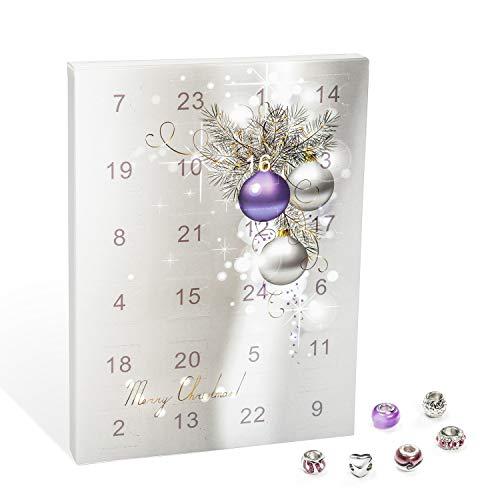 VALIOSA Merry Christmas Mode-Schmuck Adventskalender mit Halskette, Armband + 22 individuelle Perlen-Anhänger...