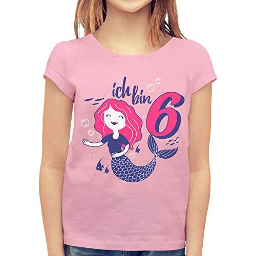Ich Bin 6 Meerjungfrau Geburtstags Mädchen Mädchen T-Shirt 128 Rosa
