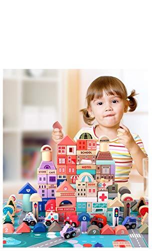 Lalia Bauklötze aus Holz, 115 Teile XL großes Set Bausteine für Kinder ab 2 Jahren. Für Mädchen und...