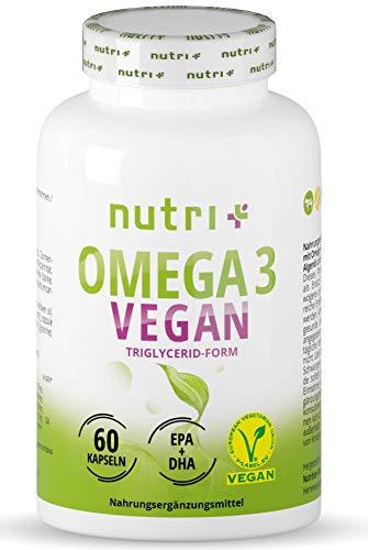 OMEGA-3 Vegan - DHA + EPA Essentielle O3-Fettsäuren aus Algenöl - vegane Kapseln - hochdosiertes veganes Öl...