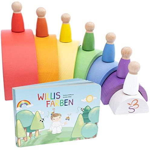 SCHMETTERLINE® Holz-Regenbogen Spiel-Set für Kinder ab 3 Jahren - Montessori-Spielzeug mit Holzfiguren und...
