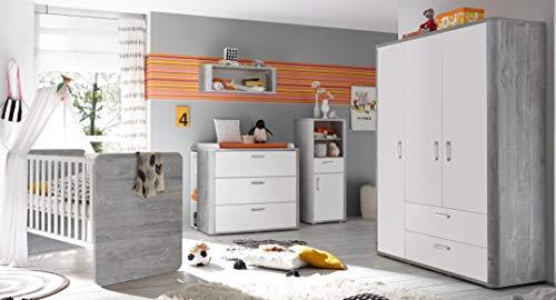 Babyzimmer Frieda in Vintage Wood Grey von Mäusbacher 6 teiliges Sparset mit Schrank, Bett mit Lattenrost und...