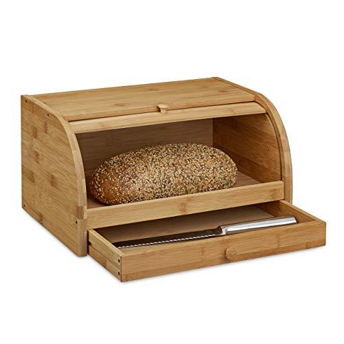 Relaxdays Rollbrotkasten mit Schublade, Bambus, aromadicht, Brotkasten mit Rolldeckel, HxBxT: 21 x 40,5 x 28...