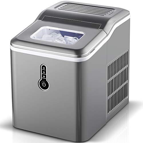 Sunmaki Eiswürfelmaschine, 12kg Eiswürfel 24h, Eiswürfelbereiter Edelstahl, 1.5L Wassertank,Eismaschine,...