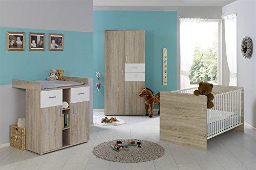 Babyzimmer Babymöbel komplett Set ELISA 1 in Eiche Sonoma Weiß, Komplettset mit Kleiderschrank Babybett...