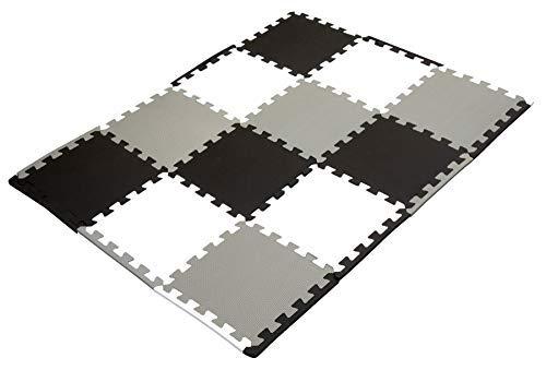 Puzzlematte Baby, Bodenschutzmatten 12 Puzzlematten mit Rand schwarz grau weiß Unterlegmatte Fitnessmatte...