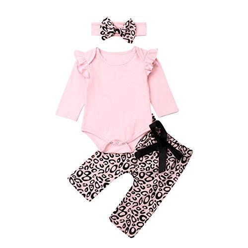 Geagodelia Babykleidung Set Baby Mädchen Langarm Body Strampler + Leopard Hose + Stirnband Neugeborene...