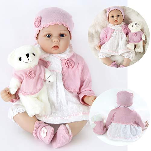 ZIYIUI Reborn Baby-Puppe 22 Zoll 55 cm Weiche Vinyl Silikon Simulation Reborn Babys Mädchen Lebensechte...