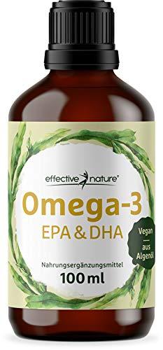 effective nature Omega-3 Öl EPA & DHA, veganes Algenöl mit wertvollen mehrfach ungesättigten Fettsäuren,...