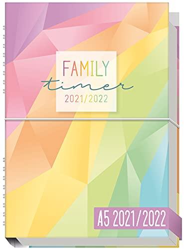 Family-Timer 2021/2022 A5 [Rainbow] Der Familien-Kalender 18 Monate: Juli 21 bis Dezember 22 | Familien-Planer...