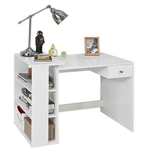 SoBuy® FWT35-W Schreibtisch mit 1 Schublade und 3 Ablagen Tisch Arbeitstisch Computertisch Bürotisch, weiß...