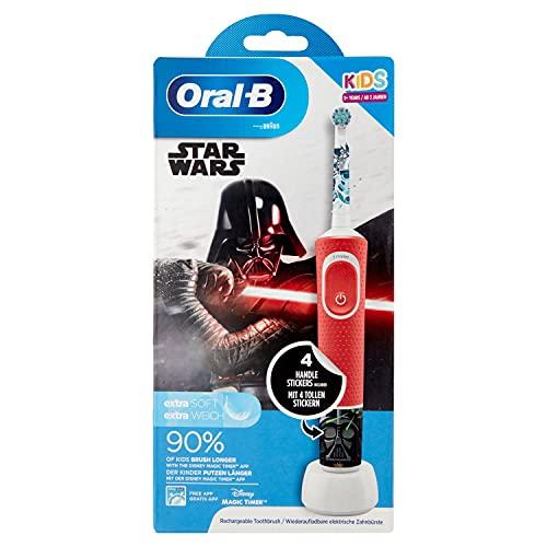 Oral-B Kids StarWars Elektrische Zahnbürste mit Disney-Stickern, 2 Aufsteckbürsten, für Kinder ab 3...
