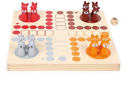 Small Foot 11336 Ludo Waldtiere aus Holz FSC 100%, Brettspiel für die ganze Familie mit Anleitung und...