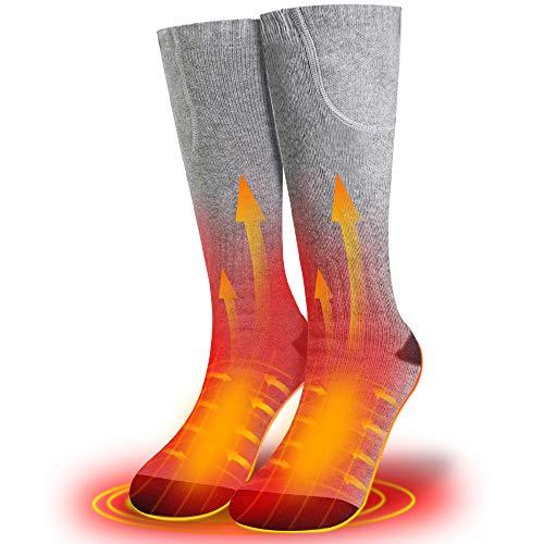 XBUTY Beheizte Socken für Damen und Herren,Elektrische Warme Socken mit Akku Baumwolle Heizsocken Beidseitige...