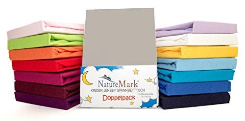 2er Sparpack Kinder Spannbettlaken Jersey 100% Baumwolle für Kinderbettmatratzen ÖKO Tex Geprüft- Gr. 70 x...