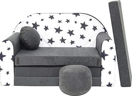 Pro Cosmo Kindersofa Bettfunktion 3in1 Sofa + Gratis Polsterhocker und Kissen Kindermöbel Set - AC1 Grau...