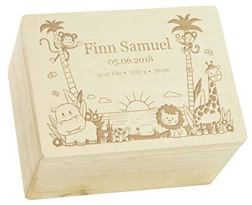 LAUBLUST Erinnerungsbox Baby Personalisiert - Dschungel - Geschenk zur Geburt | XL - 40x30x24cm, Holzkiste...