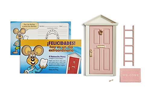 🐭 Ratoncito Perez : Magische Tür Rosa + Treppen + Schlüssel + Fußmatte + Glückwunschkarte