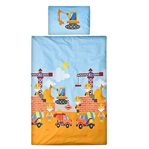 Aminata Kids Bagger-Bettwäsche Kinderbettwäsche 100-x-135 Junge Baumwolle mit Baustelle & Bagger-Motiv...