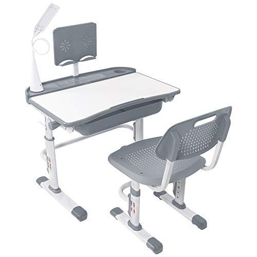 Yinleader Kids Schreibtisch- und Stuhlset, Verstellbarer Kindertisch mit Augenschutzlampe, Bücherständer,...